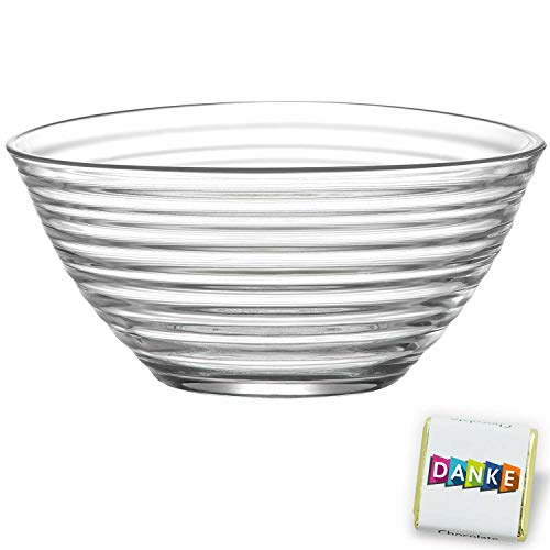 stylische Salatschüssel aus Glas, stilvolle Glasschale cooles Effekt-Design, coole Dekoschale, Ø 21cm, Party Knabberschale, lebensmittelechte Glasschüssel, transparente Glas Bowle 2010ml Derin
