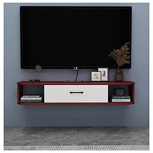 WFENG Mueble TV Suspendido/Mesa TV/Mueble para Salón,con Puerta Abatible con Estantes de Gran Almacenaje/B / 120×23×17cm