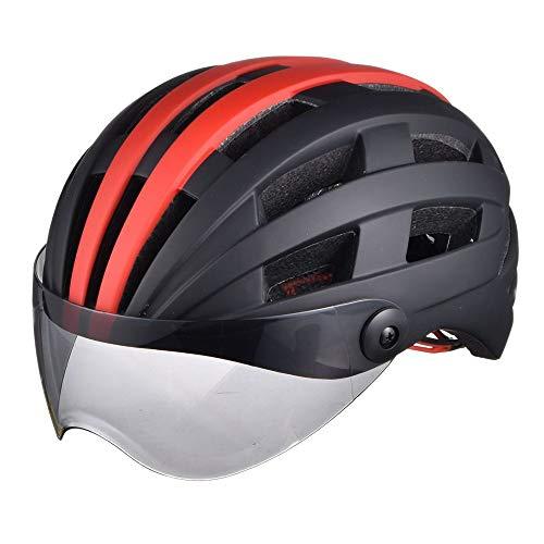 AJL Black & RedCycling Casco de Bicicleta con Gafas Moldeado de una Pieza Tecnología aerodinámica Tecnología de Seguridad Casquillo de Seguridad Racing Bike Equipo de protección