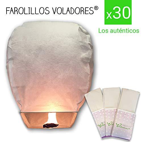 FAROLILLOS VOLADORES Blancos. Pack 30 Unidades