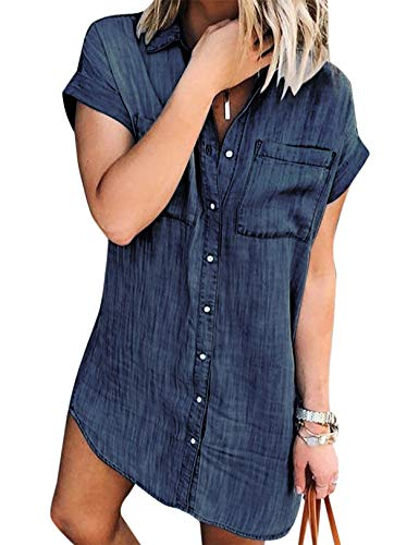 Vestidos Camisero de Denim para Mujer De Manga Corta Borlas Jeans Vestido Casual con Botones Marino1 L