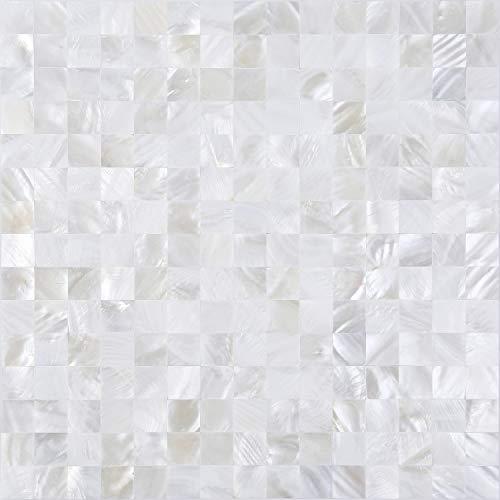 KASARO Wall Tile Peel and Stick Mosaic Shell Backsplash for Bedroom and -