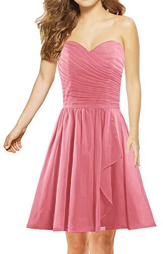 ANTS Women's Sweetheart Short Bridesmaid Dresses Chiffon Wedding Party Dress Size 6 US Blush