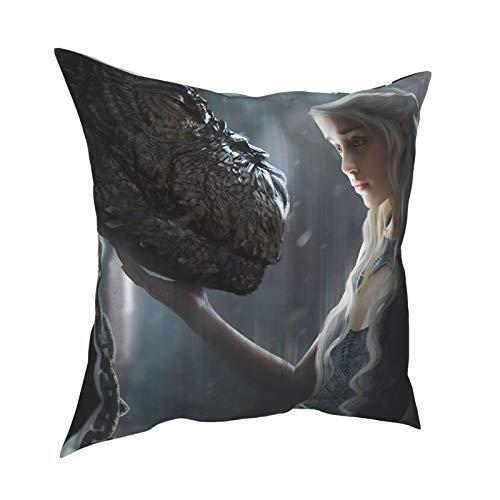Ga-me of Thr-ones la montaña sin enmascarar Fantasía Targaryen ilustrado ygritte funda de almohada para sala de estar, juego de cama con resistente al polvo 50,8 x 50,8 cm