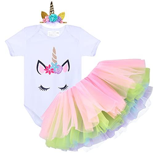 Tacobear 3 piezas Conjunto Primer Cumpleaños Niña Falda Niña 1 Años con Trajes Mameluco & Falda & Diadema Unicornio/Lazo/Flores Regalo para Niños de 12-18 Meses(Hilo de color arcoiris)