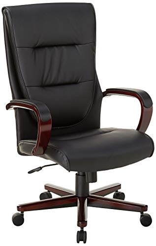 HON Topflight Executive Leather Chair - High-Back Office Chair for Computer Desk, Black/Mahogany (HVL844)