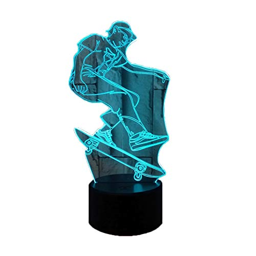 Cartoon Animation Acrylic RGB 3D Skateboard Night Light with Colourful Gradient Touch and Colour Change Remote Control in Sixteen Different Colours for Christmas Gift Home Decoration Children's Toys