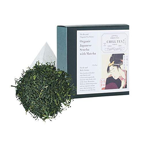 Té verde matcha y sencha orgánico - Té verde orgánico matcha y sencha de CHILL TEA Tokyo - LIBRES DE PLASTICO bolsas de té - Fresco sabor umami (8 Bolsitas)