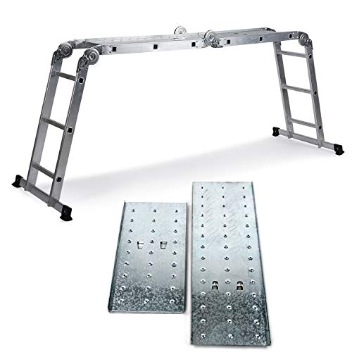 hjh OFFICE, Silver 801202 - Scala multiuso a 12 gradini con 2 piastre per ponteggio, SOLID W3, in alluminio, 345 cm, portata fino a 150 kg