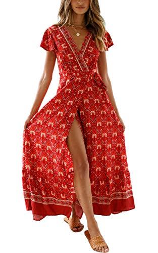 ECOWISH Damen Kleider Boho Sommerkleid V-Ausschnitt Maxikleid Kurzarm Strandkleid Lang mit Schlitz Weinrot L