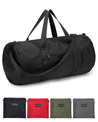 "Vorspack Small Duffel Bag 20"" Foldable Gym Bag for Men Women Duffle Bag Lightweight with Inner Pocket for Travel Sports - Black"