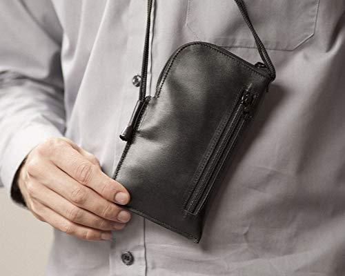 HAPPER STUDIO Mini messenger tas voor iPhone echt lederen hoes portemonnee met nek riem mouw zak, Portemonneehouder, iPhone 11, Zwart