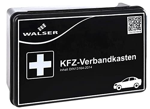 WALSER 44262 KFZ Verbandskasten schwarz nach DIN 13164, Erste-Hilfe Set Auto, Verbandtasche