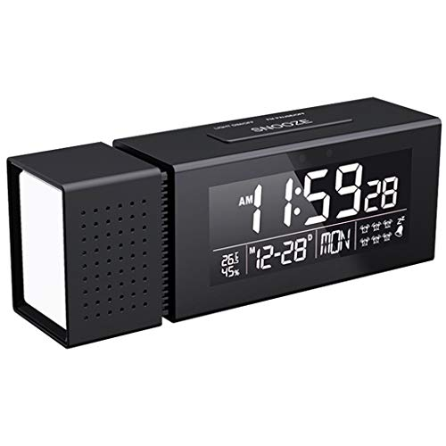HUImiai Color Changing Alarm Clock Best for Kids, Bedroom, Camping with FM Thermometer IR Induction USB Charger