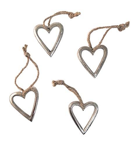 Marzoon 4X Metall Anhänger Herz je 4,5 x 5cm, offene Metallherzen zum Hängen Mini-Deko Mitbringsel Hochzeitsdeko Raumdeko