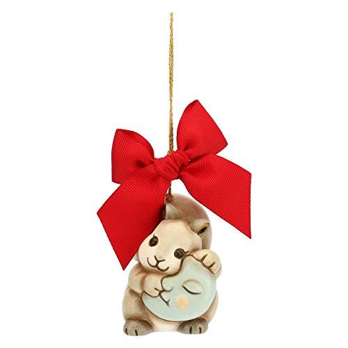 THUN - Addobbo Scoiattolo con Luna per Albero di Natale - Formato Grande - Ceramica - Linea Preludio dinverno - 6,2x5,6x5,6 cm
