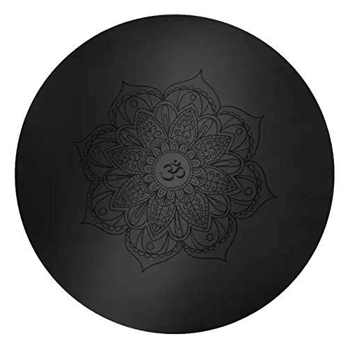 FKING Runde PU YogaMatte rutschfest Bedruckte Bodenmatte mit Meditationsmatte Aus Naturkautschuk 60 x 60 x 0.5 cm (23.6 x 23.6 x 0.2 Inch)-Schwarz
