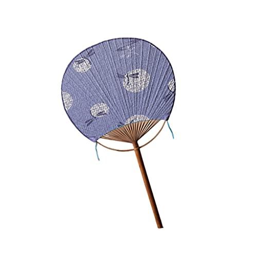 Abanico Plegable Ventilador de grupo de estilo japonés, ventilador de palacio de papel de verano, ventilador redondo de doble cara, abanico de bambú clásico para el viento para disfrutar del fresco Fa
