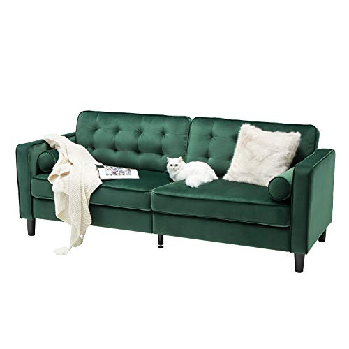 "Esright 84.2"" Green Velvet Couch Mid Century Modern Sofa,Tufted Velvet Fabric Sofa with 2 Bolster Pillows, Sofas Couches for Living Room, Apartment, Bedroom"