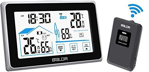 FLYLAND Estación meteorológica inalámbrica, estación de pronóstico de termómetro Digital Interno y Externo, Monitor de Humedad de Temperatura doméstica, Sensor Digital Remoto para higrómetro de Mesa