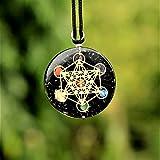 Black Tourmaline Orgone Pendant for Women EMF Protection | Reiki Metatron's 7 Chakra Crystal | Better Sleep Orgonite Energy Pendant with Two Different Chains