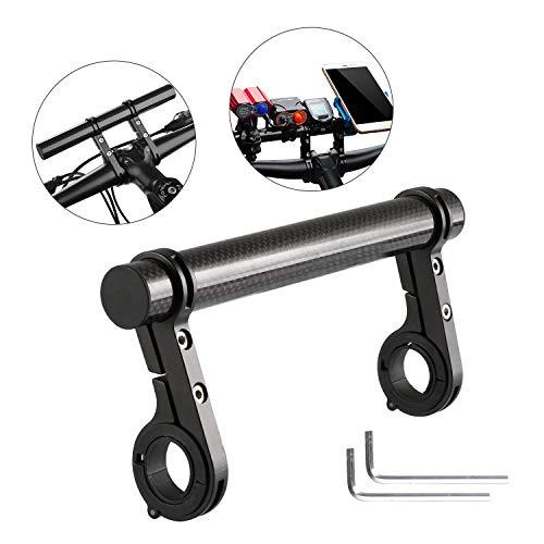 Yizhet Soporte Manillar Bicicleta Extensor de Manillar para Bici Soporte de Extensión con Abrazaderas Dobles,Soporte para Luz de Bicicleta MTB, GPS, Teléfono, Velocímetro (Negro)