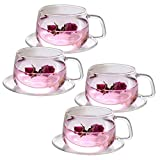 Tosnail Lot de 4 tasses à thé et soucoupes en verre transparent de 11 onces