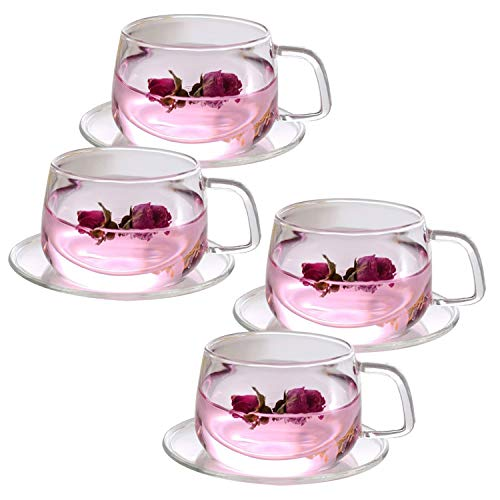 Tosnail 4 Pack 11-Ounce Clear Glass Tea Cups and Saucers Sets