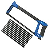 TenkBuff Adjustable Hacksaw Frame Set, 12 Inch Heavy Duty Hand Saw with 10 Extra Blades, Two Sawing Angles(45°/90°) for Sawing Wood, PVC Pipes, Steel Pipes, Frozen Meat (Normal, Blue)