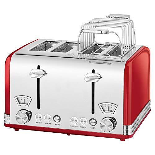 ProfiCook PC-TA 1194 Toaster 4-Scheiben-Toaster, Vintage-Look, Edelstahlgehäuse, 1x Brötchenaufsatz, 2x stufenlos einstellbarer Bräunungsgrad, 2x Zentrierfunktion, 2x Krümelschublade, Edelstahl-rot