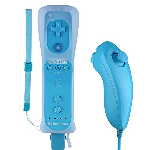 Game Controller für Wii und Nunchuk Motion 2 in 1,STOGA Eingebauter Motion Plus Remote und Nunchuck Controller mit Silicon Case für Nintendo Wii und Wii U(Blau)