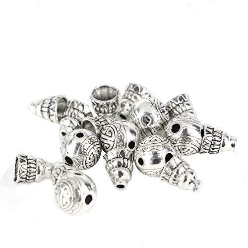 Monrocco 30Sets/60Pcs Antique Silver Mala Buddha Guru Loose Beads 3-Ways Round & Calabash Buddha Head Beads Cap for Jewelry Making