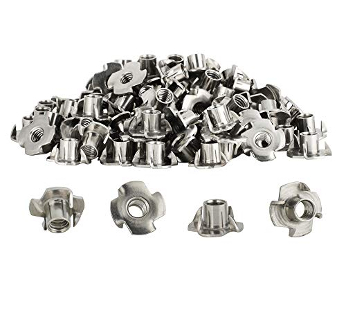 Stainless Steel 5/16 T-Nuts –4 Prong T Nut with 5/16-18 Threads for Indoor or Outdoor use with Furniture, Climbing Holds, or Leveling Feet (50 Pack)