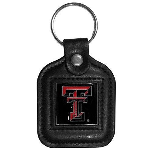 NCAA Siskiyou Sports Fan Shop Texas Tech Red Raiders Square Leather Key Chain One Size Black