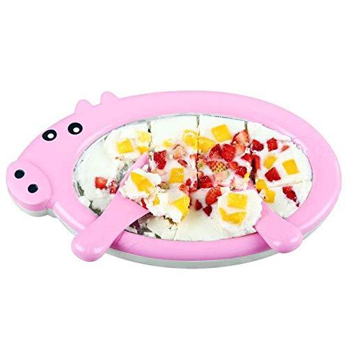 Mini Frying Ice Machine Kleine Eisschale, DIY Hausgemachte Eismaschine Pfanne Frozen Yogurt, Sorbet, Gelato - Familienspaß, Keine Notwendigkeit Unplugged,Rosa