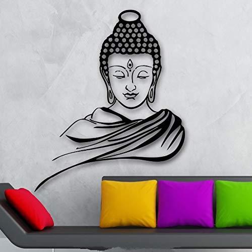 Tianpengyuanshuai Klassische religiöse buddhistische Buddha-Statue Meditation Wandtattoo Vinyl abnehmbare Wandkunst Wandaufkleber -50X61cm
