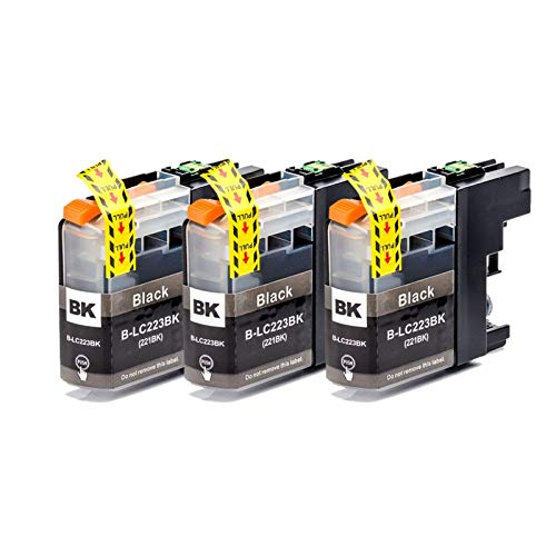 TZZD 12 cartuchos de tinta compatibles LC223 LC221 para impresoras Brother MFC-J4420DW/J4620DW/J4625DWJ480DW/J680DW/J880DW (color: 3 unidades), color negro