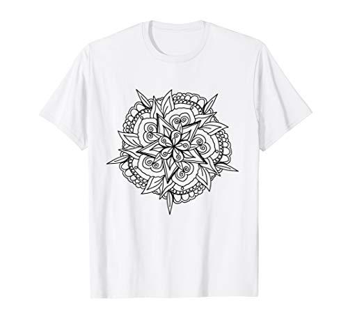 Mandala T-Shirt zum ausmalen Muster Comic bemalen Geschenk