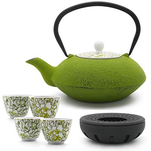 Bredemeijer Teekanne asiatisch Gusseisen Set grün 1,2 Liter mit Tee-Filter-Sieb und gusseisernen Stövchen inkl. 4 grünen Teebecher Porzellan