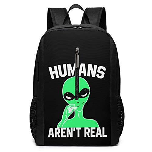 WLQP Humans Arent Real 17 Zoll Laptop mit großem Fach Travel Laptop Rucksack Tasche für Männer Frauen (Schwarz)