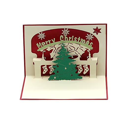 3D Weihnachtskarte mit 6 Motiven Weihnachtsgeschenke Santa Elch Weihnachtsbaum Schneemann Weihnachtsglocken Weihnachtskarte Merry Christmas Cards, Kamin Weihnachtsbaum, m