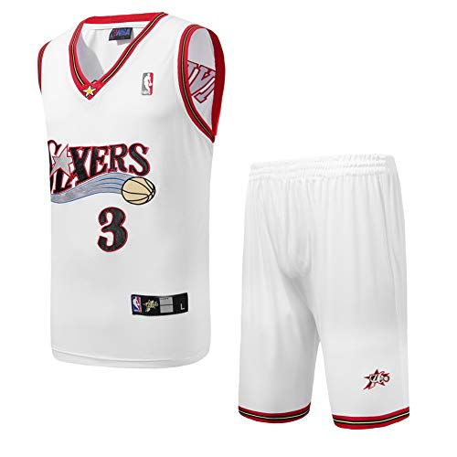 Wo nice Philadelphia 76ers # 3 Allen Iverson Basketball Uniformen atmungsaktiv schnell trocknend Fans Sportswear Sport Trikots Sportshorts,White,XL180cm75~85kg