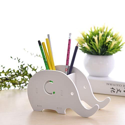 PPuujia 1 soporte creativo para bolígrafo, diseño de elefante kawaii, animal, soporte de mesa para teléfono móvil, caja de almacenamiento de papelería, organizador de oficina, regalo (color blanco)