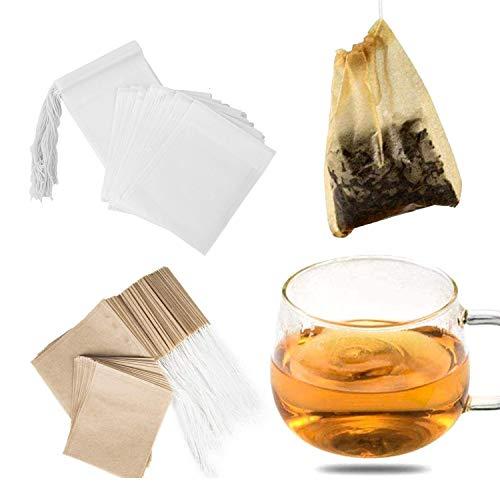 Comius Sharp 200 Pezzi di bustine filtranti per tè biodegradabili, bustina di tè di Carta USA e Getta con Coulisse sicura Forte penetrazione per tè e caffè a Foglie sciolte (6x8 cm)