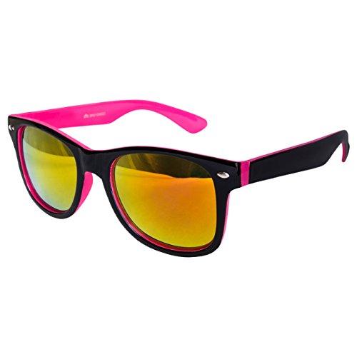 Ciffre Sonnenbrille Nerdbrille Nerd Retro Look Brille Pilotenbrille Vintage Look - ca. 80 verschiedene Modelle Viele Farben (Schwarz Pink Feuer Verspiegelt)