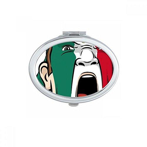 DIYthinker Mexico Nationale Vlag Gezicht Schilderen Make-up Masker Schreeuwende Cap Ovaal Compact Make-up Pocket Spiegel Draagbare Leuke Kleine Hand Spiegels Gift