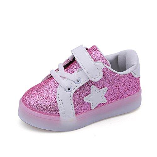 Btruely Sneaker Kinder Winter Warm Sportschuhe Baby Schuhe Star Leuchtend Kind Mode Freizeitschuhe (22, Rosa)