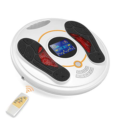 Foot Circulation Massager, Patented EMS & TENS Technology with Preset 25 Programs and 99 Intensity Levels for Improving Circulation, Reducing Swollen Feet and Ankles