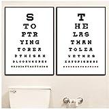 A&D Lustige Badezimmer Zeichen Typografie Poster und Drucke Toilette Auge Test Chart Kunst Leinwand Gemälde Bilder Badezimmer Wandkunst Dekor -50x70cm Kein Rahmen