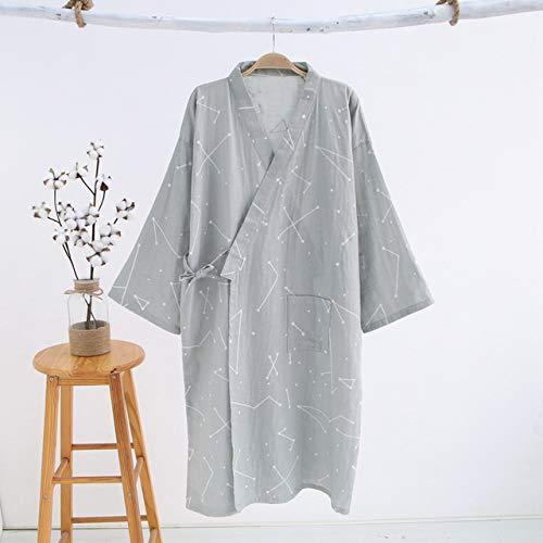 lässige Kimono Roben Männer Sommer langärmeligenBademantel einfachen Bademantel Nachtwäsche Männer Bademäntel-Men geometric grey-XL